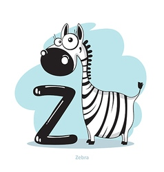 Cartoons alphabet - letter z with funny zebra vector