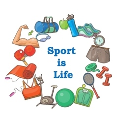 Hand drawn sport doodle set vector