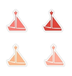 Assembly realistic sticker design on paper sailing vector