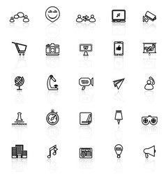 Media marketing line icons with reflect on white vector