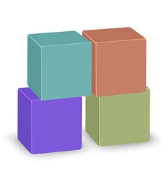 Four colored transparent cubes stand on each other vector image