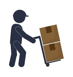 Man working transport box vector