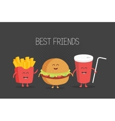 Cute fast food burger soda french fries vector