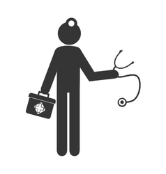 Doctor with equipment pictogram design vector
