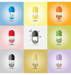 Set of different conceptual medicine capsules vector