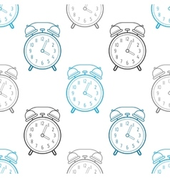 Alarm clock flat linear icon seamless pattern vector