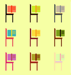 Book and chair collection vector