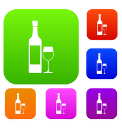 bottle of wine set collection vector image