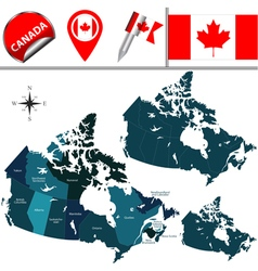 Canada map with named divisions vector image vector image