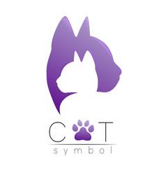 cat care logo violet modern gradient on white vector image
