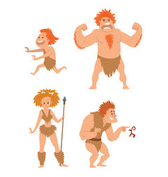 caveman primitive stone age cartoon neanderthal vector image