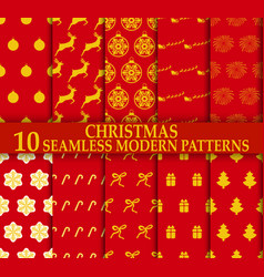 christmas 10 seamless stylish modern patterns vector image vector image