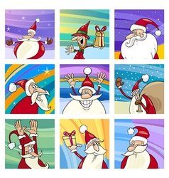 Christmas Santa cards cartoon set vector image