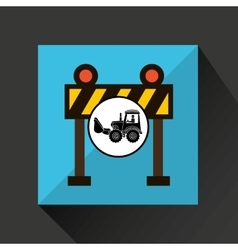 Construction truck concept barrier light design vector