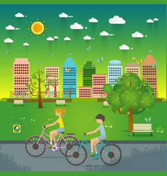 Couple riding bicycles in public park flat vector