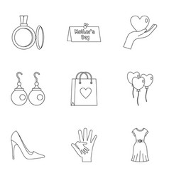 day of mom icon set outline style vector image
