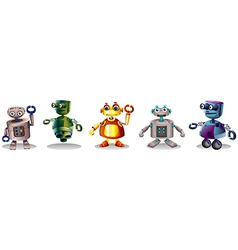 Different robot designs vector image vector image