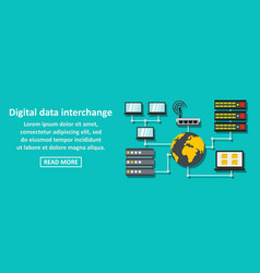 digital data interchange banner horizontal concept vector image