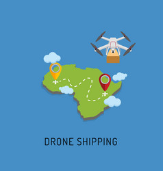 Dron delivers the parcel to the designated place vector
