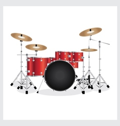 Drum set red vector