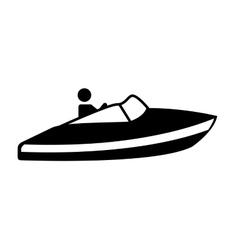 Fast boat silhouette icon vector