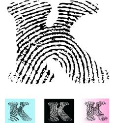 Fingerprint Alphabet Letter K vector image vector image