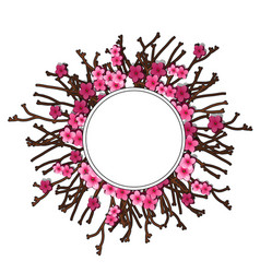 Flowers of cherry wreath and twigs holiday concept vector