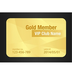Gold VIP Club Card vector image