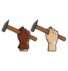 hand holding schlosser hammer vector image