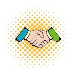 Handshake icon comics style vector