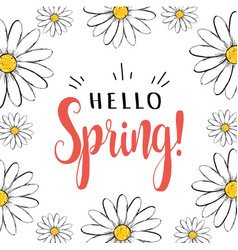 hello spring hello spring greeting card vector image