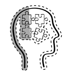 Human head with puzzles inside vector