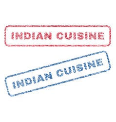 indian cuisine textile stamps vector image vector image