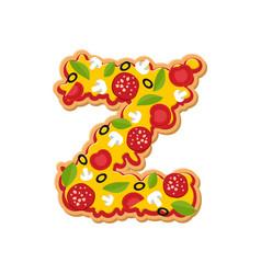 Letter z pizza font italian meal alphabet vector