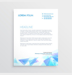 letterhead design with abstract blue triangle vector image vector image