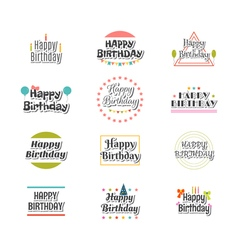 Set of happy birthday greeting cards cute postcard vector