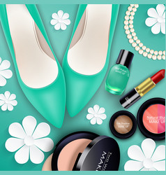 Sets of cosmetics on green background vector