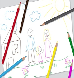 Simple kids drawing vector image