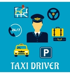 Taxi driver profession with service icons vector image