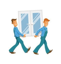 Two mans carry window vector