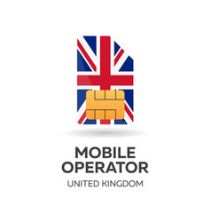 United kingdom mobile operator sim card with flag vector