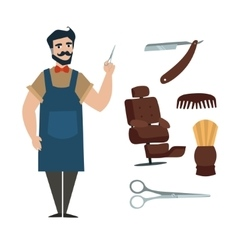 WebCartoon Professional Barber with Tools vector image vector image