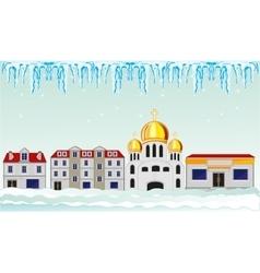 Winter in city vector