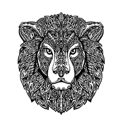 Ethnic ornamented lion hand drawn vector