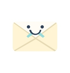 Sealed letter primitive icon with smiley face vector