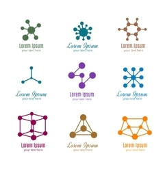 Dna and molecule logos for tech medicine vector