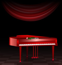 Red piano and dark room vector