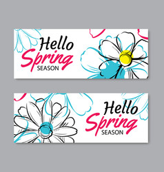 Hello spring sale banner template with colorful vector