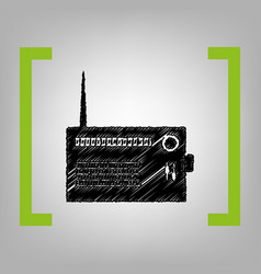 Radio sign   black scribble vector