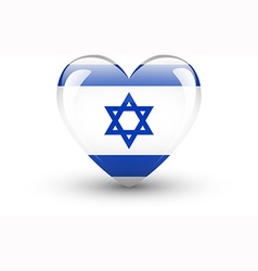 Heart-shaped icon with national flag of israel vector